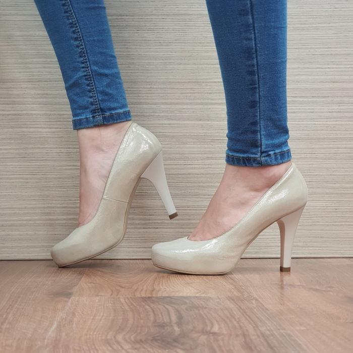 Pantofi cu toc Piele Naturala Aurii Mira D02495 1