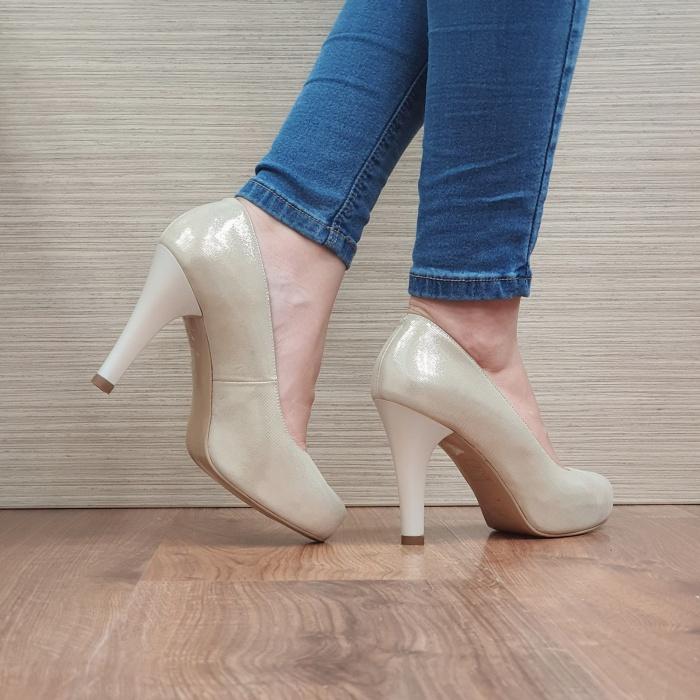 Pantofi cu toc Piele Naturala Aurii Mira D02495 3