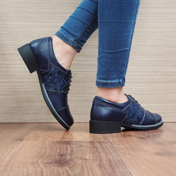 Pantofi Oxford Piele Naturala Bleumarin Anita D02516 3