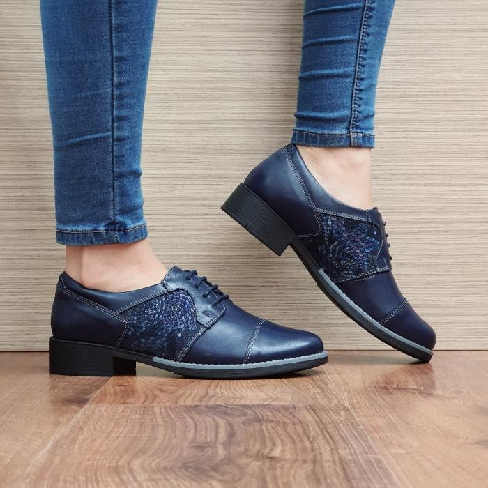 Pantofi Oxford Piele Naturala Bleumarin Anita D02516 0