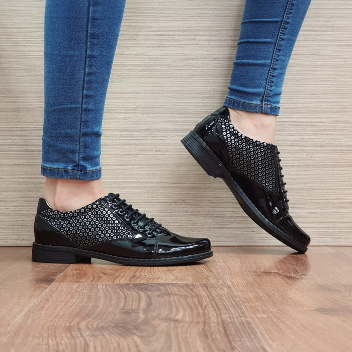 Pantofi Oxford Piele Naturala Negru-Lac Magda D02517 0