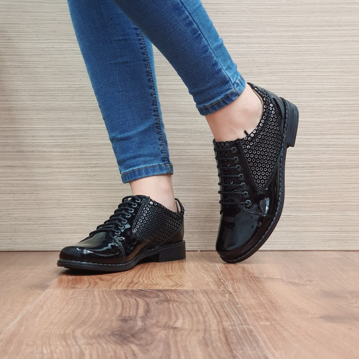 Pantofi Oxford Piele Naturala Negru-Lac Magda D02517 [2]