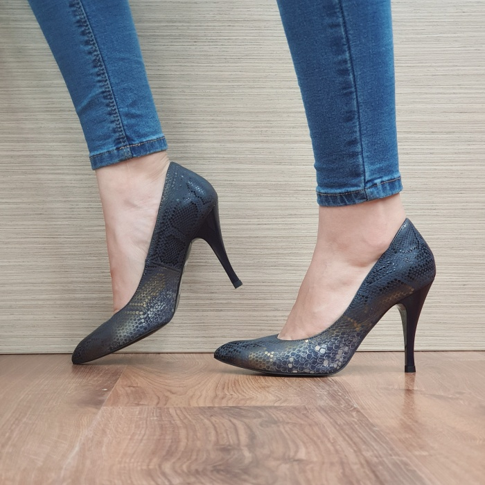 Pantofi cu toc Piele Naturala Bleumarin Eniko D02470 1