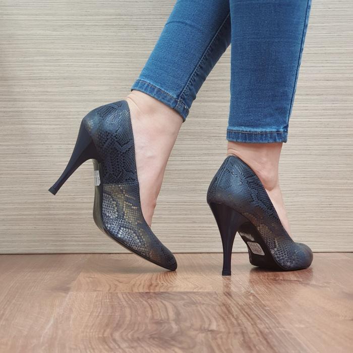 Pantofi cu toc Piele Naturala Bleumarin Eniko D02470 3