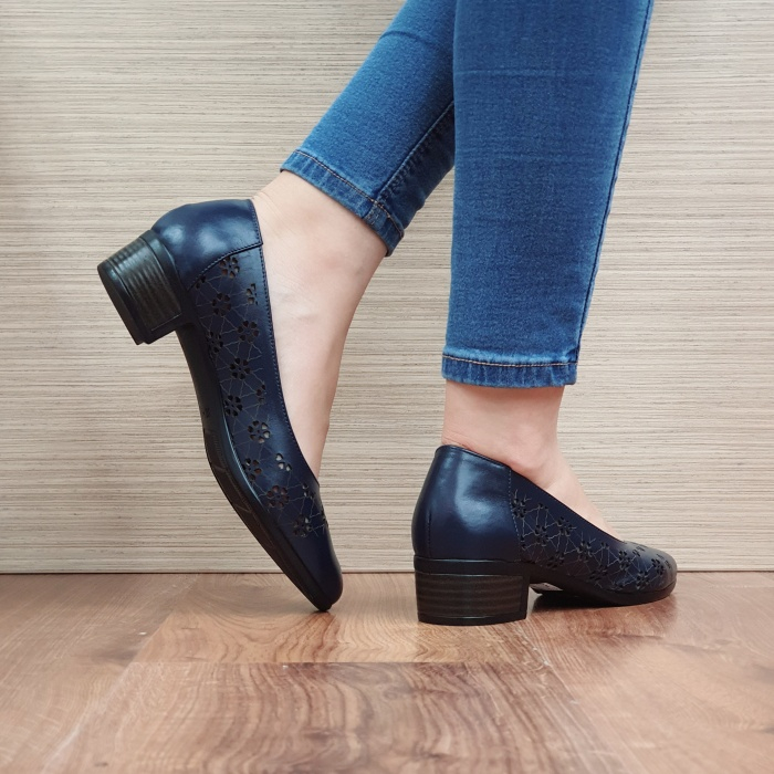 Pantofi cu toc Piele Naturala Bleumarin Judy D02456 3