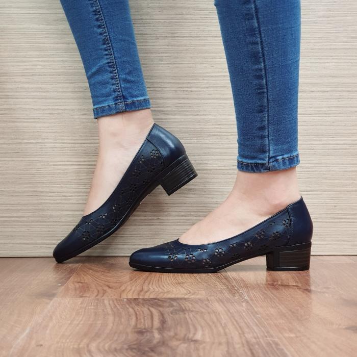 Pantofi cu toc Piele Naturala Bleumarin Judy D02456 1