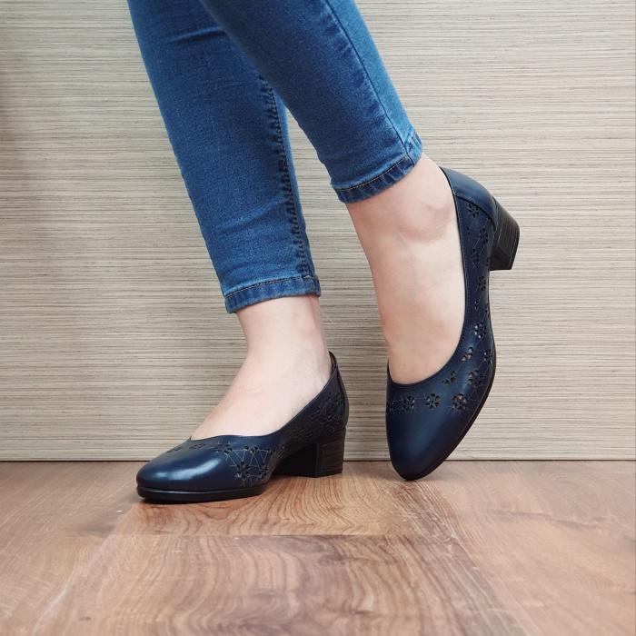 Pantofi cu toc Piele Naturala Bleumarin Judy D02456 2