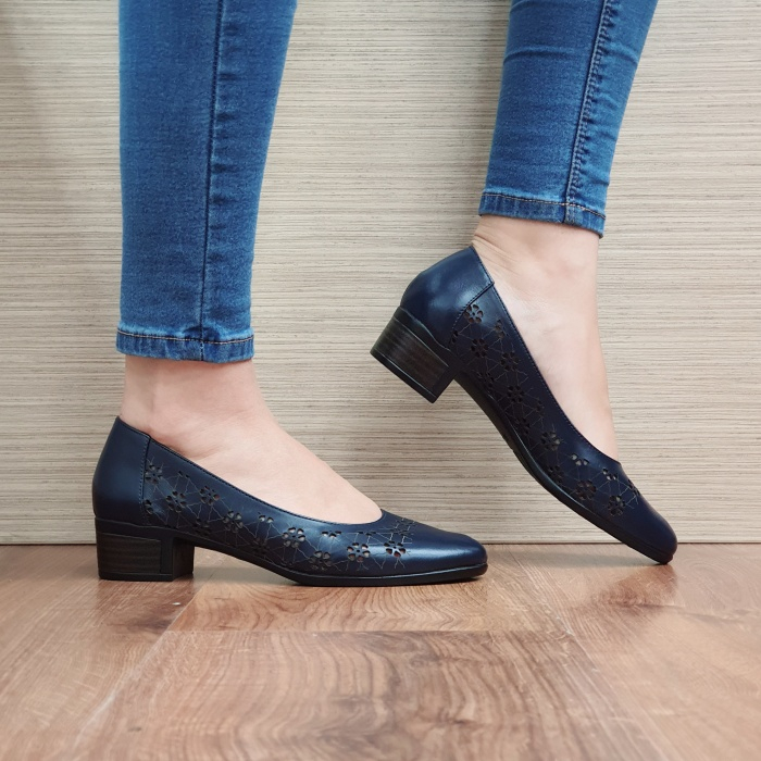 Pantofi cu toc Piele Naturala Bleumarin Judy D02456 0
