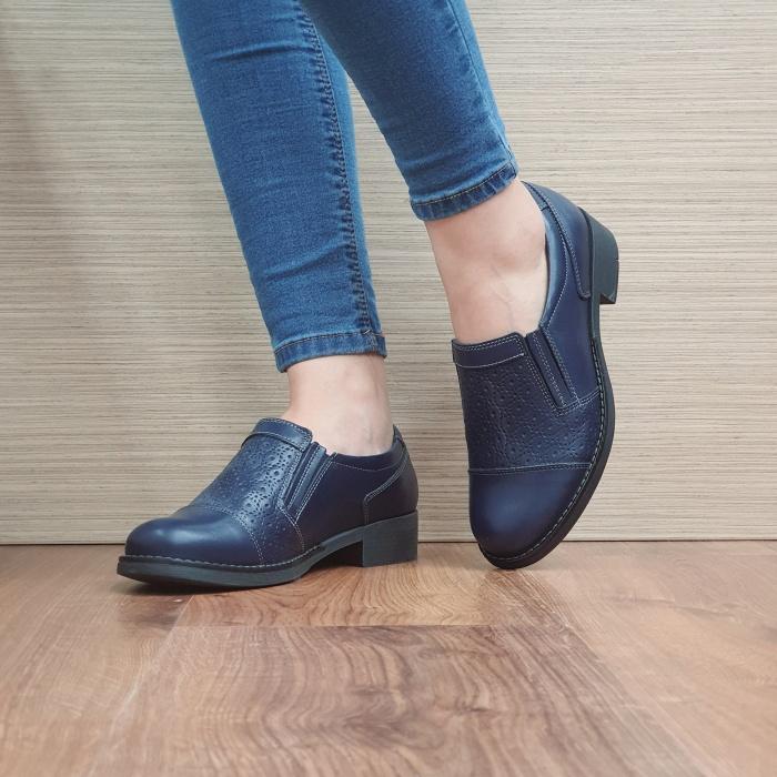Pantofi Casual Piele Naturala Bleumarin Lucille D02467 2