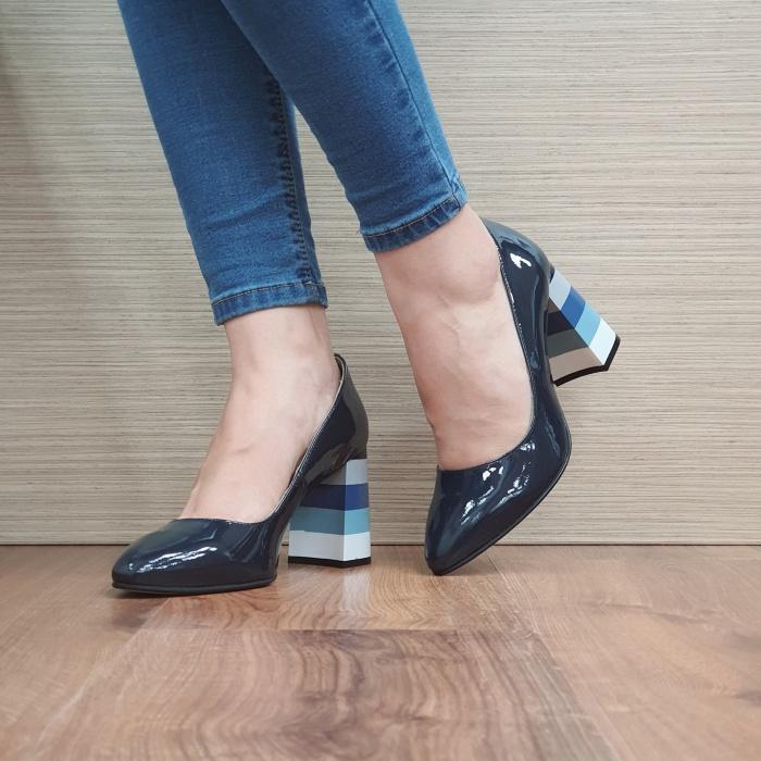 Pantofi cu toc Piele Naturala Bleumarin Viki D02475 [2]