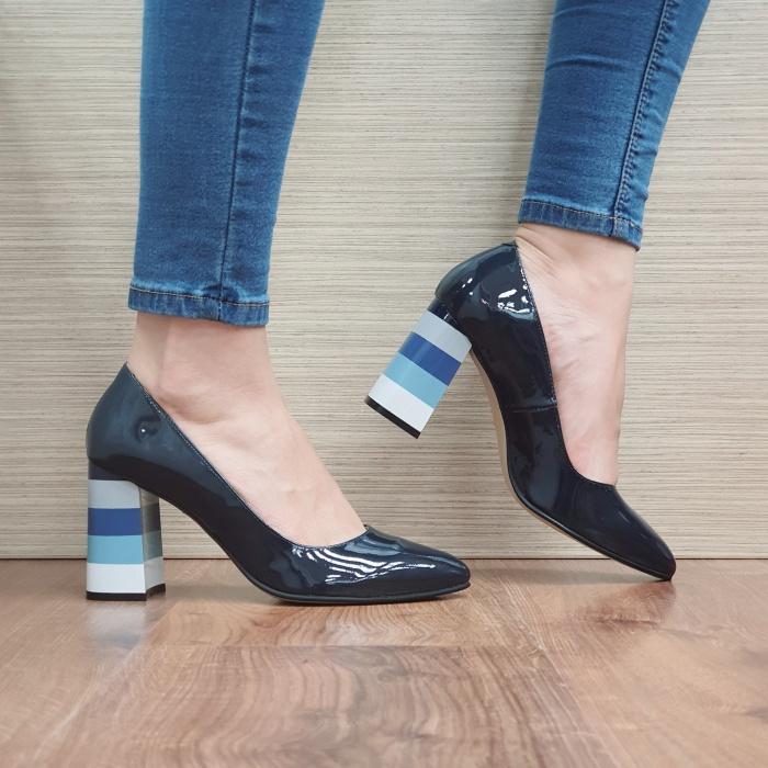 Pantofi cu toc Piele Naturala Bleumarin Viki D02475 [0]