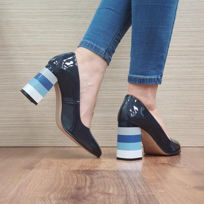 Pantofi cu toc Piele Naturala Bleumarin Viki D02475 [3]