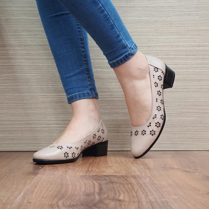 Pantofi cu toc Piele Naturala Cafenii Judy D02457 2