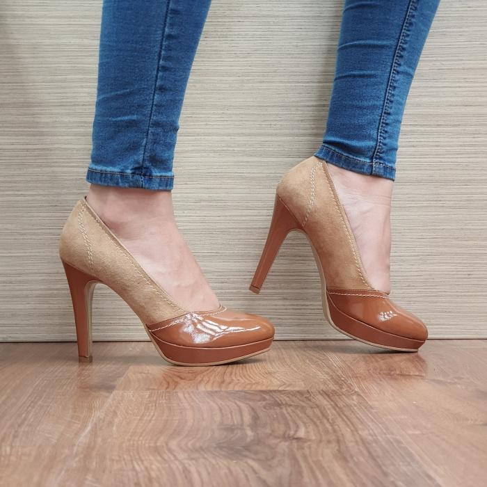 Pantofi cu toc Piele Naturala Camel Melina D02500 0