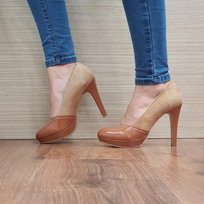 Pantofi cu toc Piele Naturala Camel Melina D02500 1