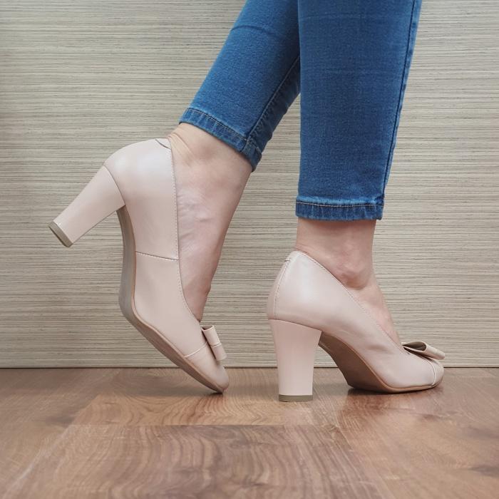 Pantofi cu toc Piele Naturala Corvaris Nude Coria D02479 3