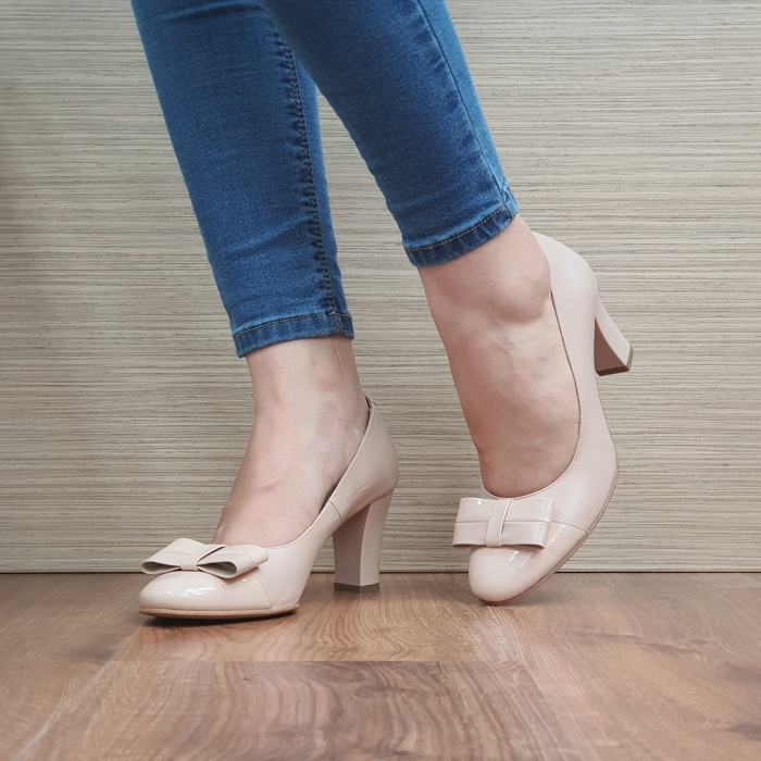Pantofi cu toc Piele Naturala Corvaris Nude Coria D02479 2