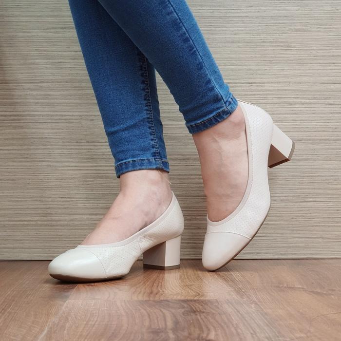 Pantofi cu toc Piele Naturala Epica Bej Noa D02505 2