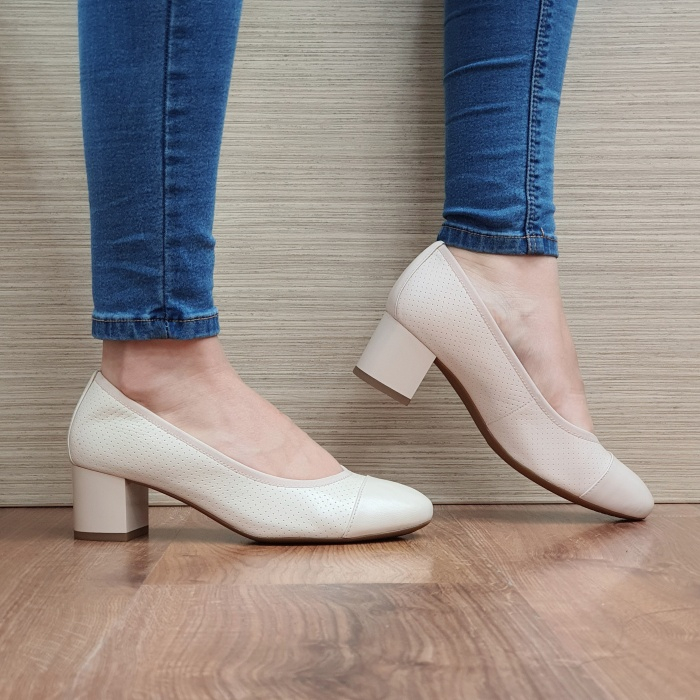 Pantofi cu toc Piele Naturala Epica Bej Noa D02505 0