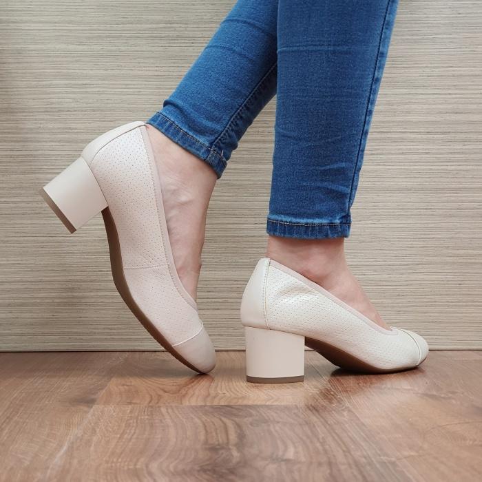 Pantofi cu toc Piele Naturala Epica Bej Noa D02505 3