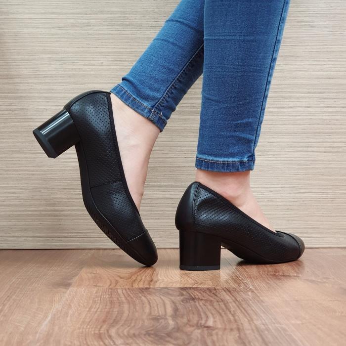 Pantofi cu toc Piele Naturala Epica Negri Rebecca D02506 3