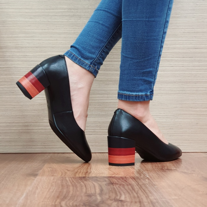 Pantofi cu toc Piele Naturala Epica Negri Sandra D02504 [3]