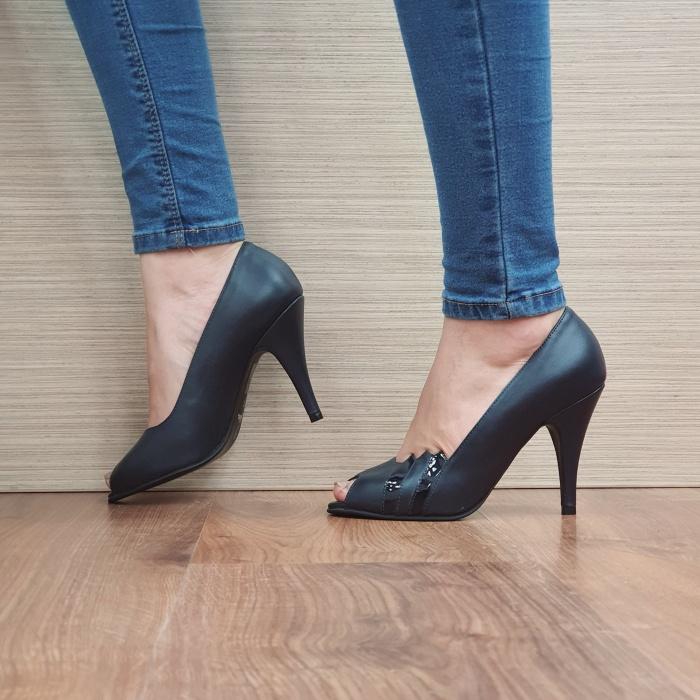 Pantofi cu toc Piele Naturala Guban Bleumarin Brunella D02487 1