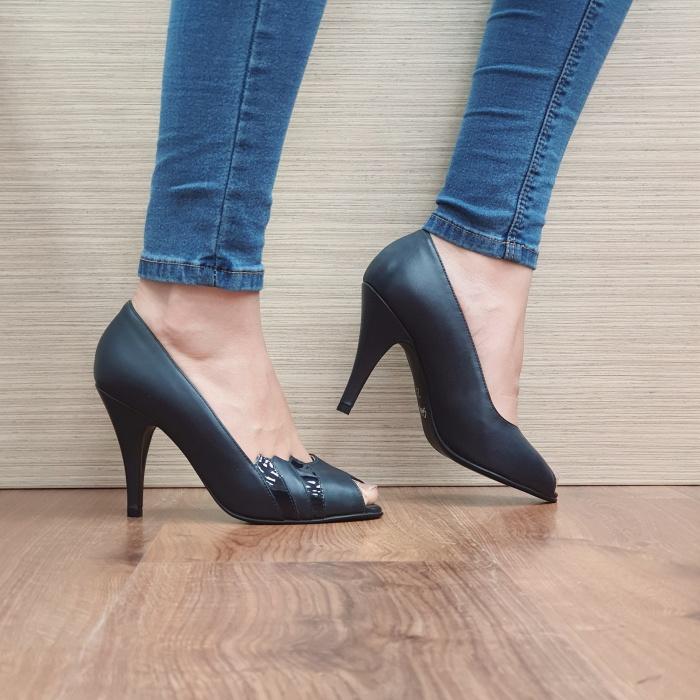 Pantofi cu toc Piele Naturala Guban Bleumarin Brunella D02487 0