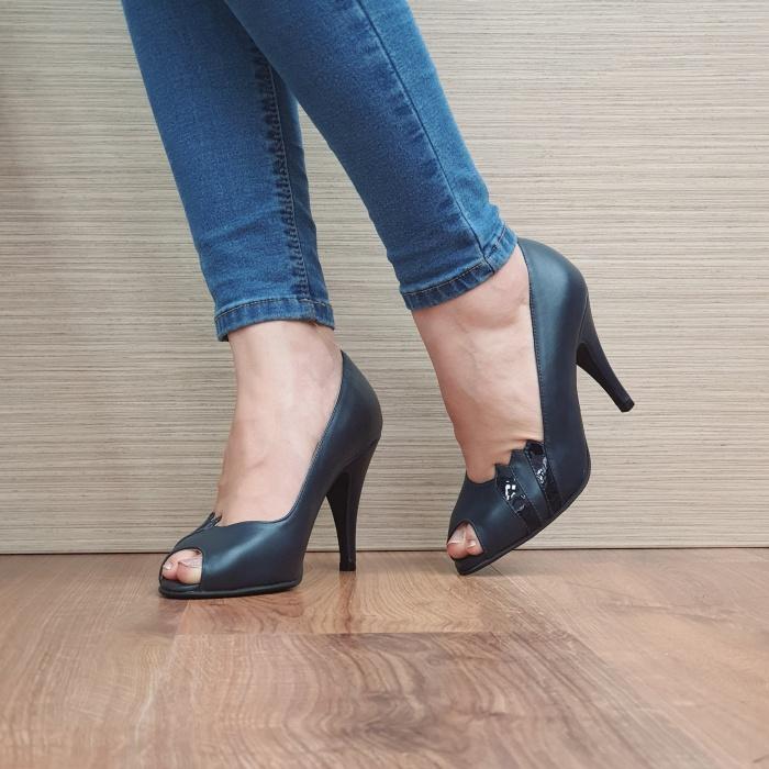 Pantofi cu toc Piele Naturala Guban Bleumarin Brunella D02487 2