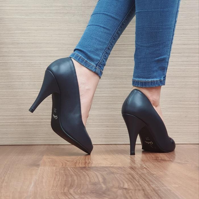 Pantofi cu toc Piele Naturala Guban Bleumarin Brunella D02487 3