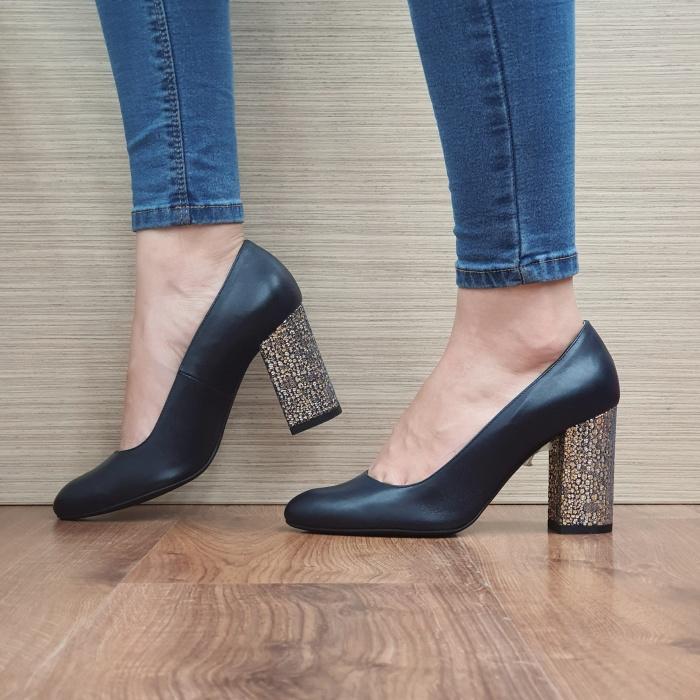 Pantofi cu toc Piele Naturala Guban Bleumarin Chloe D02481 1