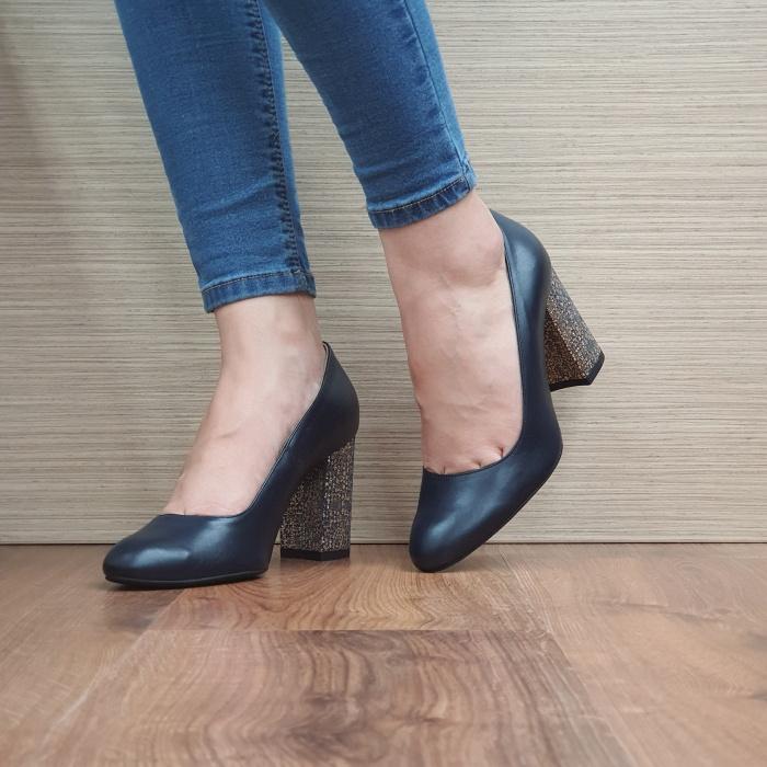 Pantofi cu toc Piele Naturala Guban Bleumarin Chloe D02481 2