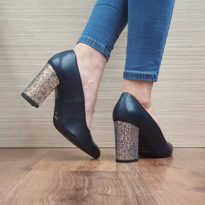 Pantofi cu toc Piele Naturala Guban Bleumarin Chloe D02481 3