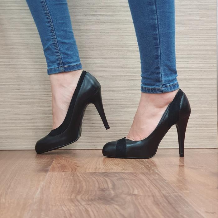 Pantofi cu toc Piele Naturala Guban Negri Arya D02489 [1]