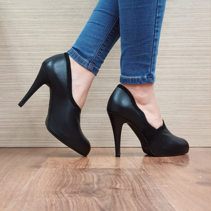 Pantofi cu toc Piele Naturala Guban Negri Corelia D02510 3