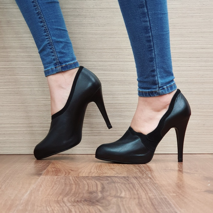 Pantofi cu toc Piele Naturala Guban Negri Corelia D02510 1