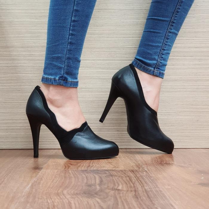 Pantofi cu toc Piele Naturala Guban Negri Corelia D02510 0