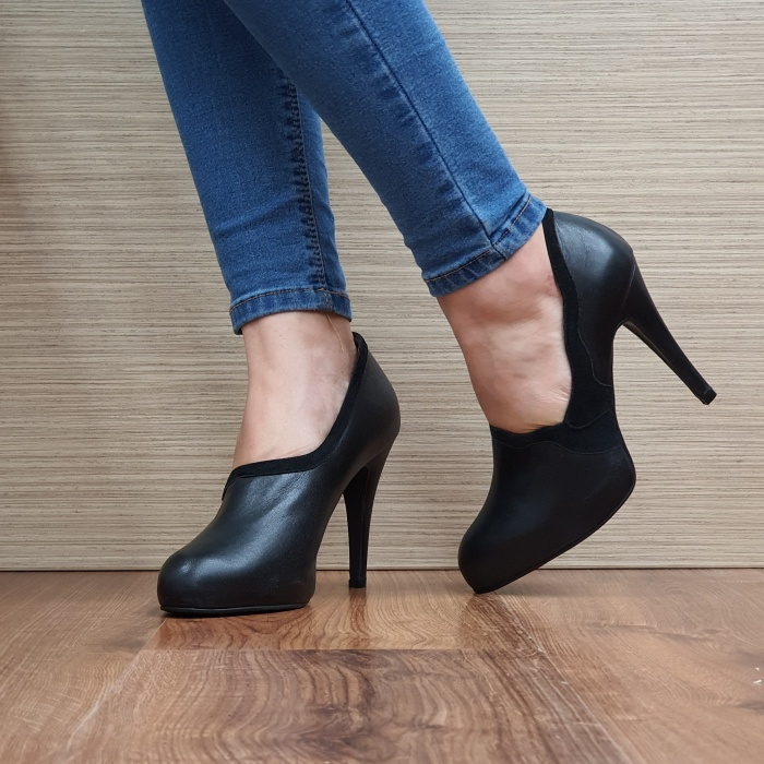 Pantofi cu toc Piele Naturala Guban Negri Corelia D02510 2