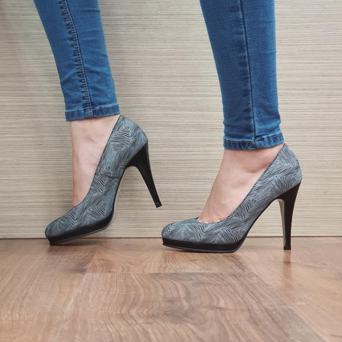 Pantofi cu toc Piele Naturala Guban Negri Hristina D02488 1