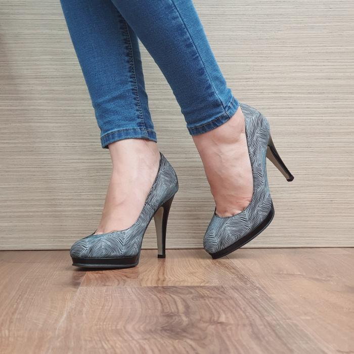 Pantofi cu toc Piele Naturala Guban Negri Hristina D02488 2