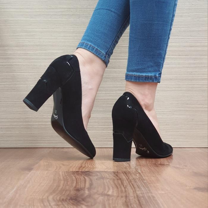 Pantofi cu toc Piele Naturala Guban Negri Marisol D02480 3