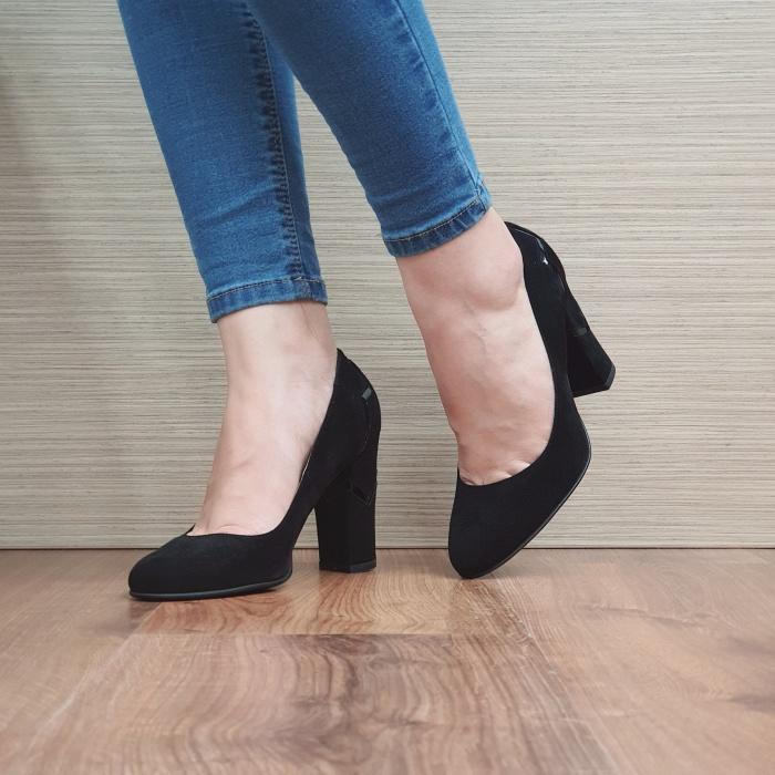 Pantofi cu toc Piele Naturala Guban Negri Marisol D02480 2