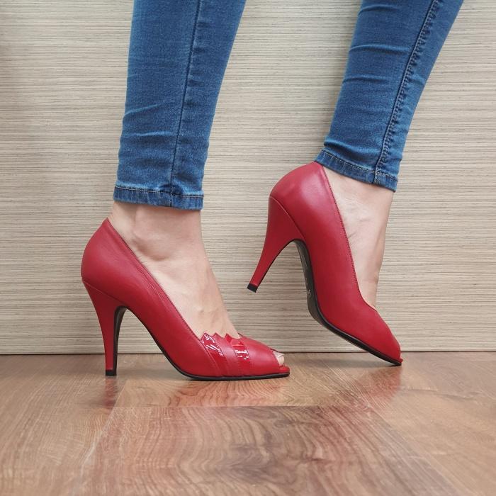 Pantofi cu toc Piele Naturala Rosii Guban Brunella D01148 [0]