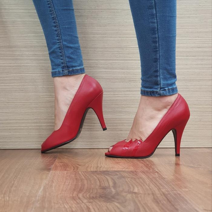 Pantofi cu toc Piele Naturala Rosii Guban Brunella D01148 1