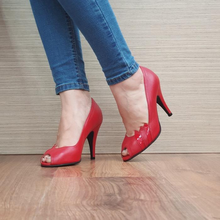 Pantofi cu toc Piele Naturala Rosii Guban Brunella D01148 2