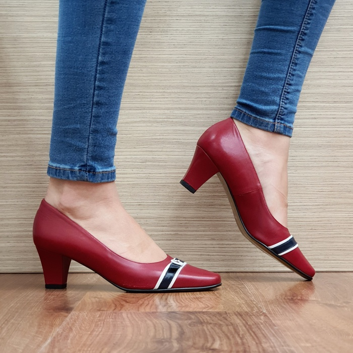 Pantofi cu toc Piele Naturala Guban Rosii Kellisa D02512 0