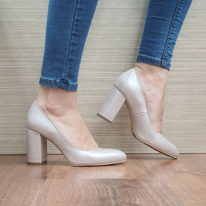Pantofi cu toc Piele Naturala Moda Prosper Bej Prisca D02472 [0]