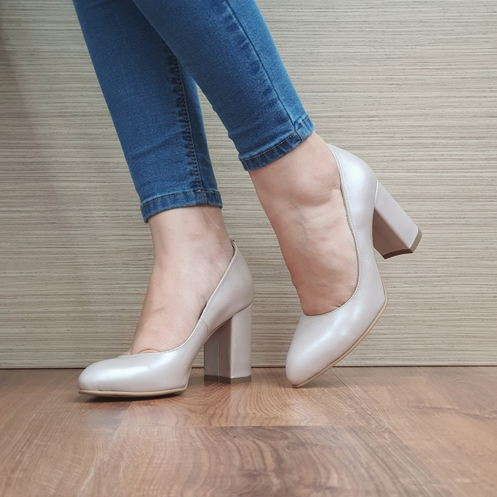 Pantofi cu toc Piele Naturala Moda Prosper Bej Prisca D02472 2