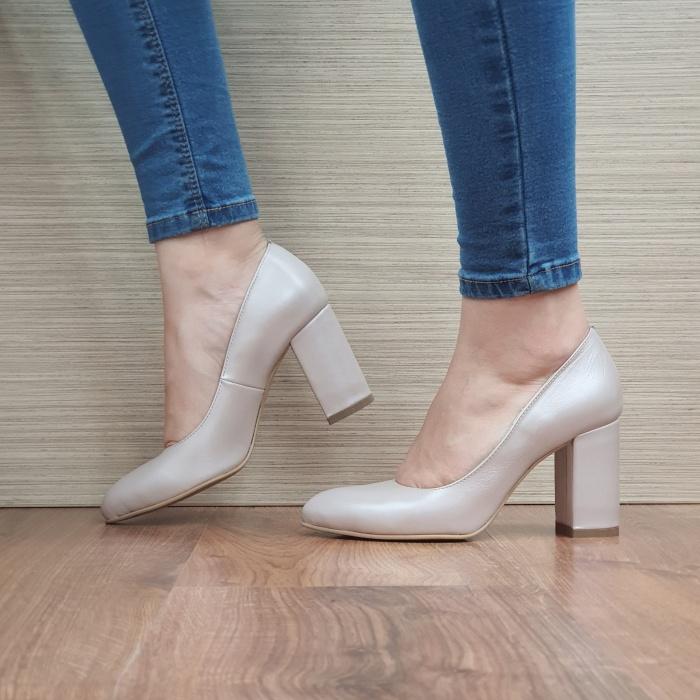 Pantofi cu toc Piele Naturala Moda Prosper Bej Prisca D02472 1