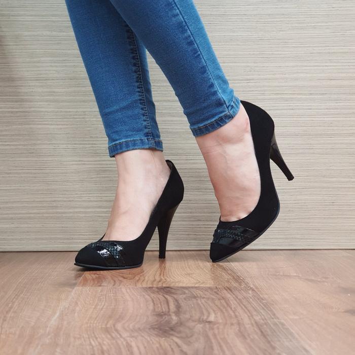 Pantofi cu toc Piele Naturala Moda Prosper Negri Correy D02501 2